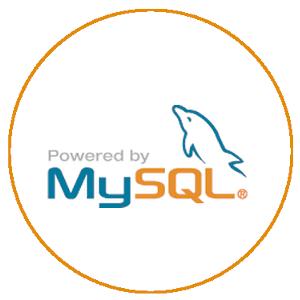 Logotipo do banco de dado MySQL. Logo contem letras e um desenho.   esta escrito Powered by MySQL e contem um golfinho sobre o SQL.