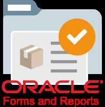 Imagem representa Oracle Forms disponível no site da Oracle. Uma pasta ao fundo com uma folha e u uma caixa ilustrada ao lado com o nome Oracle Forms and Reports